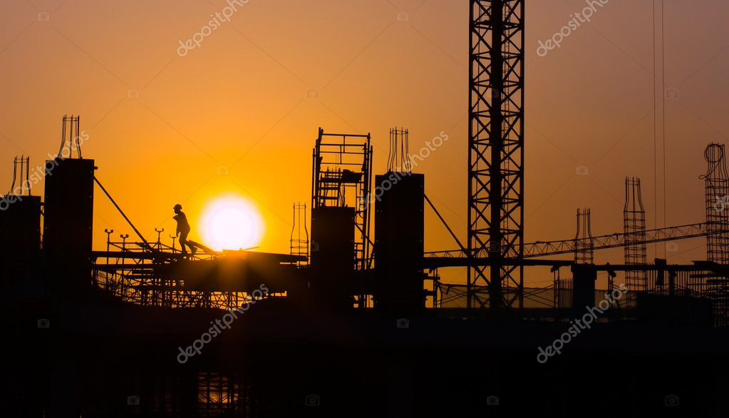 The view of construction site during the sunset — Stock Photo #2464900