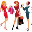 Shopping pretty girl — Vector de stock #2376998