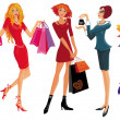 Stock Vector: Shopping pretty girl