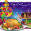 Stock Vector: Holiday dinner
