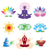Oriental icons set — Stock Vector