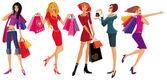 Güzel kız alışveriş — Stok Vektör