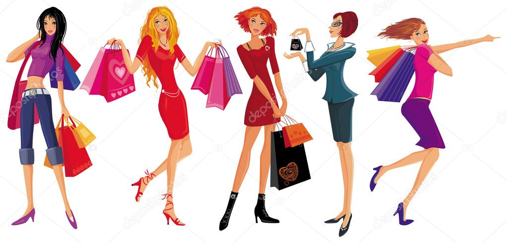 Shopping pretty girl. Vector illustration — Stok Vektör #2376998