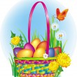 Colorful Easter Eggs in wicker basket — Stock Vector