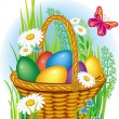 Colorful Easter Eggs in wicker basket — Vector de stock