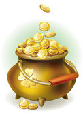 Magic pot with gold coin — Vector de stock