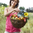 Girl with a basket full of vegetables — Stock Photo #2466089