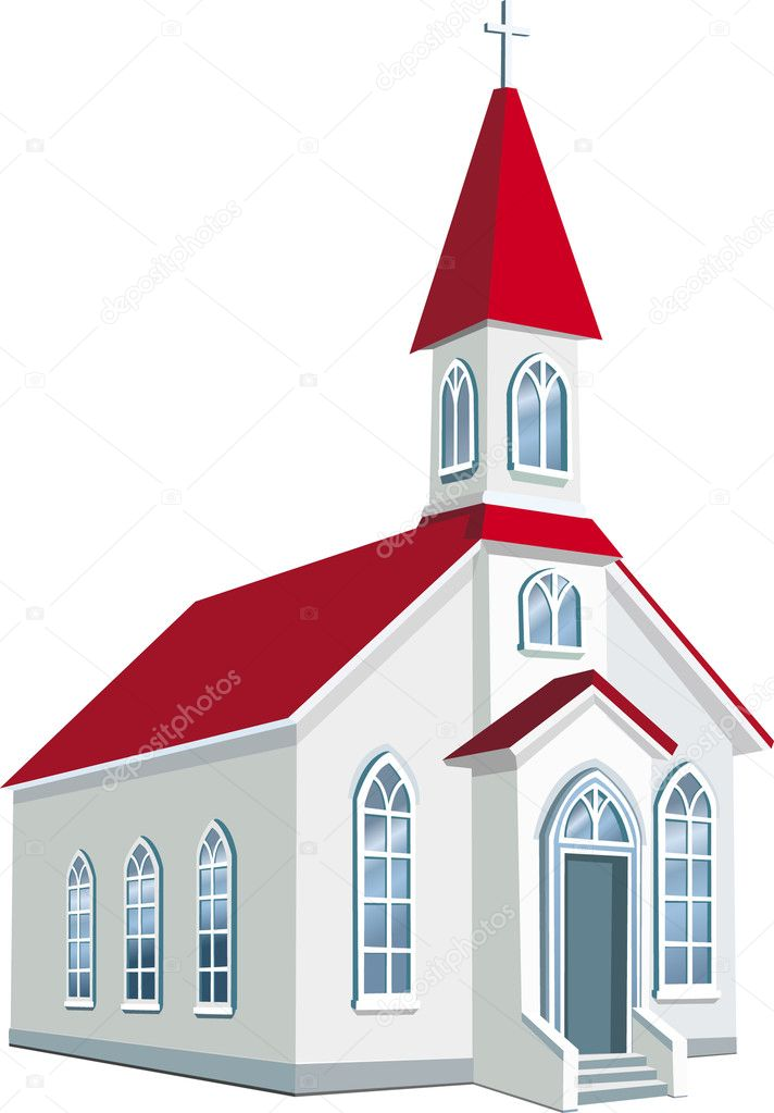 Little county Christian church — Stock Vector #2467756