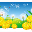 Meadow with dandelions — Stock Vector
