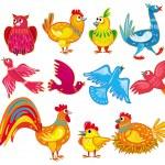 Abstract birds set — Stock Vector