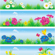 Banners with flowers in meadow — Stock Vector