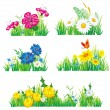 Stock Vector: Flowers and grass