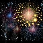 Vector fireworks in the sky — Stock Vector