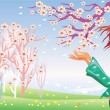 Stock Vector: Spring girl and tree in bloom