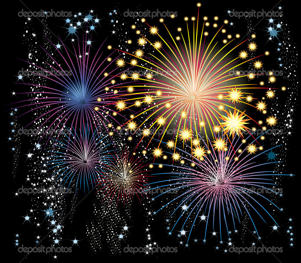 Vector fireworks in the sky — Stock Vector #2477656