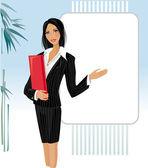 Lady giving presentation — Stock Vector