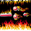 Fire graphic elements and buttons - Stock Vector