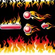 Fire graphic elements and buttons — Stock Vector #2496133