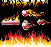 Fire graphic elements and buttons — Stock Vector