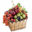 Mixed berries in basket — Stockfoto