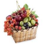 Mixed berries in basket — Stock Photo