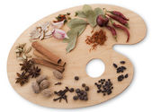 Various spices on a palette — Stock Photo