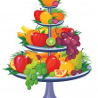 Fruits on three tier vase — Stock Vector