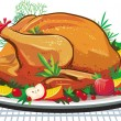 Roast turkey on the plate — Image vectorielle