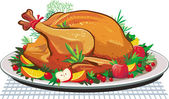 Roast turkey on the plate — Vector de stock