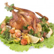 Stock Photo: Roasted chicken on white background