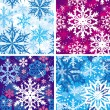 Stock Vector: Set of seamless snowflakes pattern