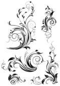 Set of floral design elements — Stock Vector