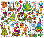 New year and christmas set — Stock Vector