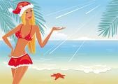 Girl on the beach in santa's hat — Stock Vector