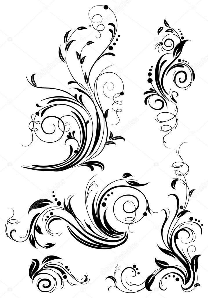Set of floral design elements  Image vectorielle #2510249
