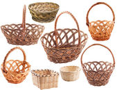 Set of empty rustic wicker basket — Stock Photo