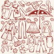 Royalty-Free Stock Vector: Set of woman autumn clothes
