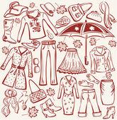 Set of woman autumn clothes — Stock Vector