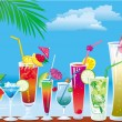 Cocktails on the beach — Stock Vector