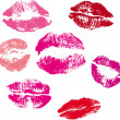 Collection of lips kiss print - Stock Vector