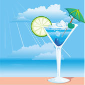Cocktail on the beach — Stock Vector
