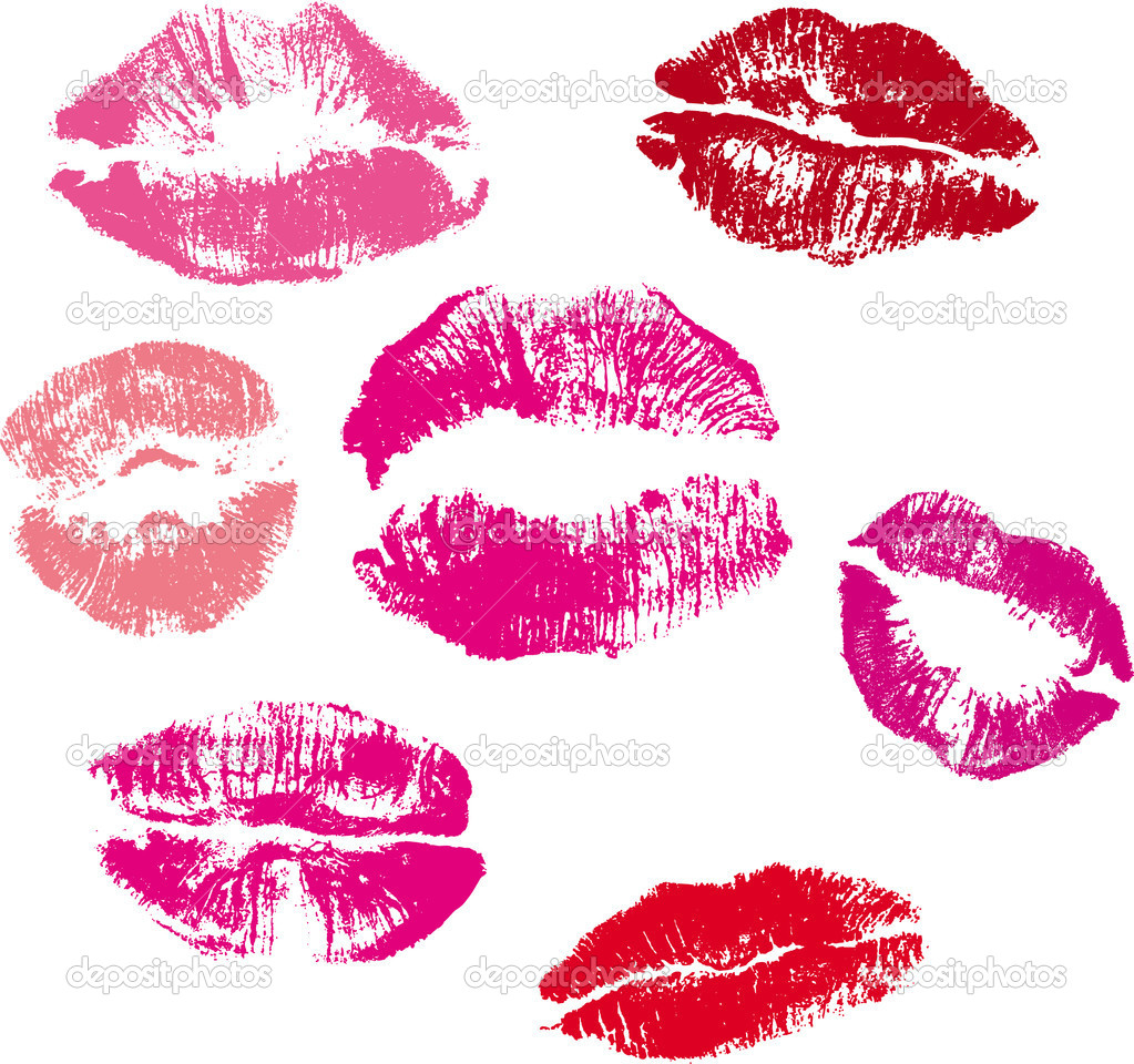 Collection of lips kiss print  Stock Vector #2547117