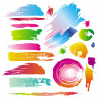 图库矢量图片: Color paint splashes and line brushes