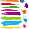 图库矢量图片: Set of colour line brushes