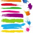 Stock Vector: Set of colour line brushes