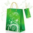 Stock Vector: Green shopping bag