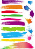 Set of colour line brushes — Stock Vector