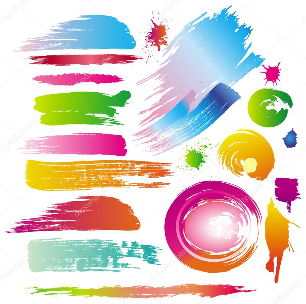 Color paint splashes and line brushes — Stock Vector #2587733