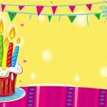 verjaardagscake met kaarsen — Stockvector