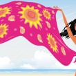 Summer beach girl — Stock Vector #2606820